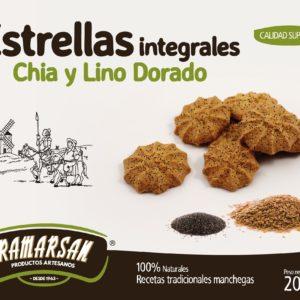 ESTRELLAS ARTESANAS INTEGRALES CON CHIA Y LINO DORADO 200 G